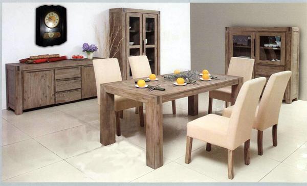 Meuble salle manger acacia for Kreabel table haute