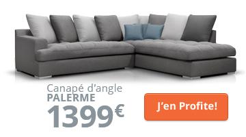 Canapé d'angle moderne gris foncé et gris clair