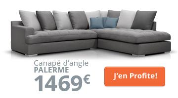 Canapé d'angle moderne gris