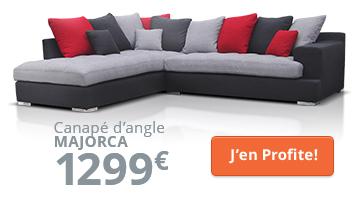 Canapé d'angle gris et rouge