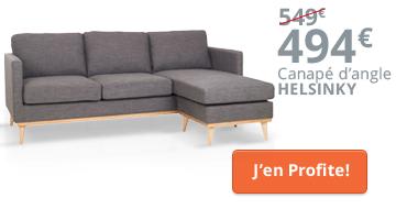 Canapé d'angle scandinave en promo