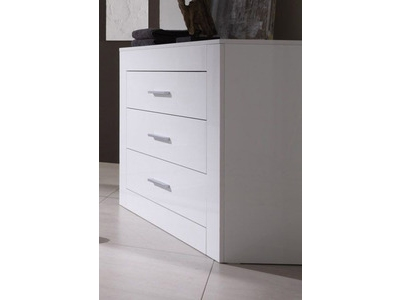 Commode 3 tiroirs amalfi chambre coucher blanc brillant - Commode chambre a coucher ...
