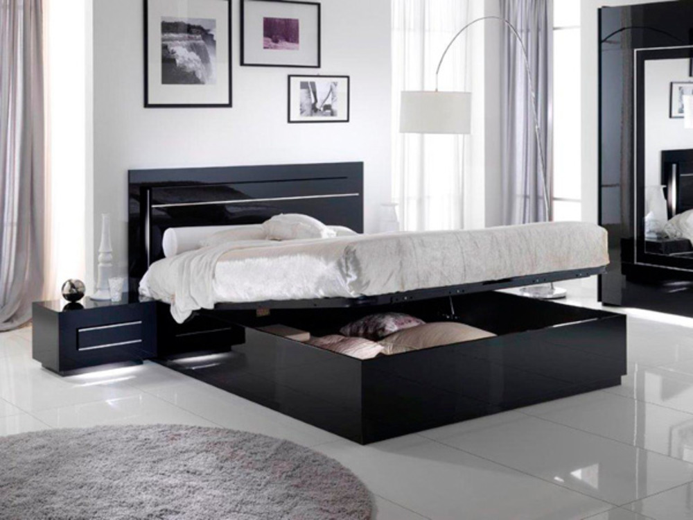 lit avec coffre de rangement city laque noir chambre. Black Bedroom Furniture Sets. Home Design Ideas