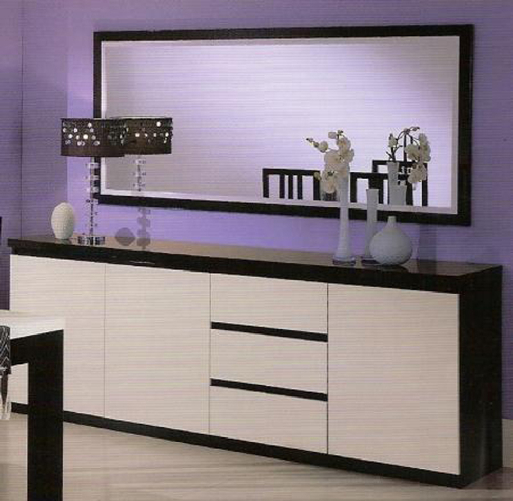 bahut 3 portes 3 tiroirs roma laque bicolore noir blanc. Black Bedroom Furniture Sets. Home Design Ideas