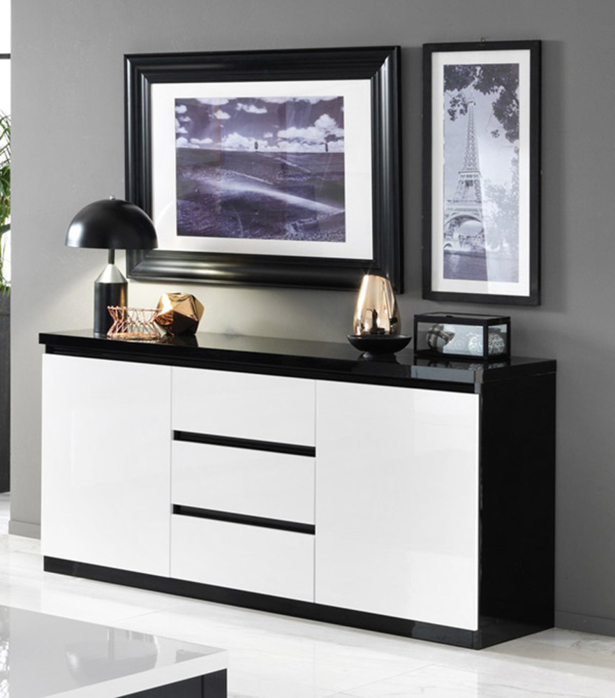 bahut 2 portes 3 tiroirs roma laque bicolore noir blanc. Black Bedroom Furniture Sets. Home Design Ideas