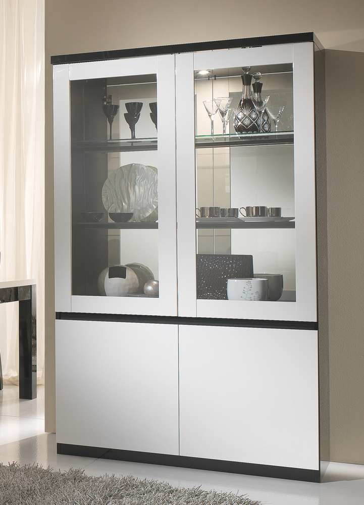 vitrine 2 portes roma laqu bicolore noir blanc. Black Bedroom Furniture Sets. Home Design Ideas