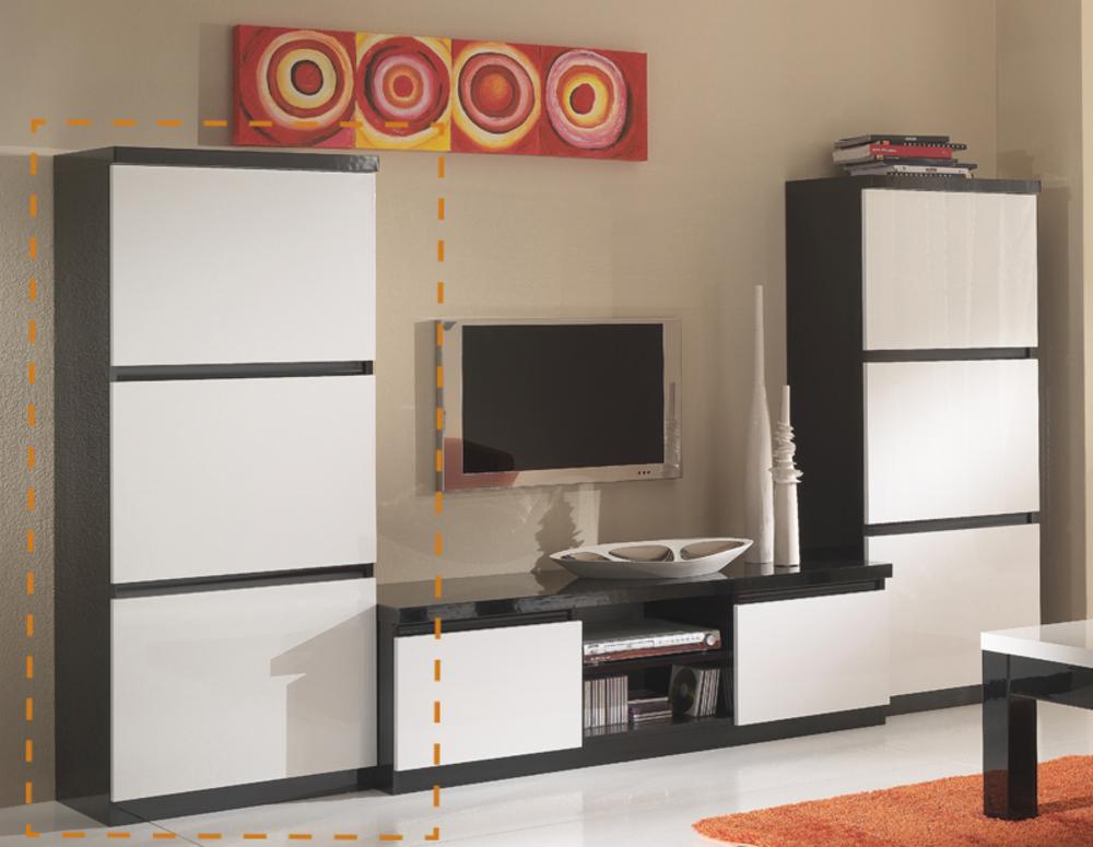 Colonne roma laqu bicolore noir blanc for Meuble tv colonne