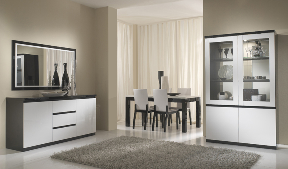 Meuble tv plasma roma laqu bicolore noir blanc for Meuble living sejour