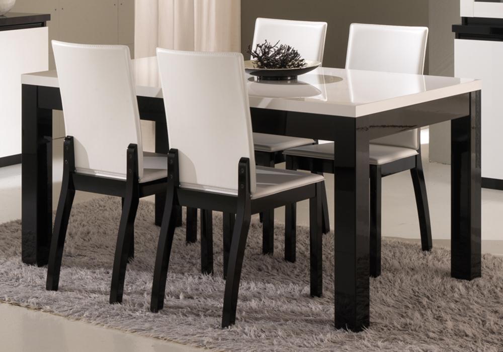 table de repas roma laque bicolore noir blanc l 190 x h 76 x p 90. Black Bedroom Furniture Sets. Home Design Ideas