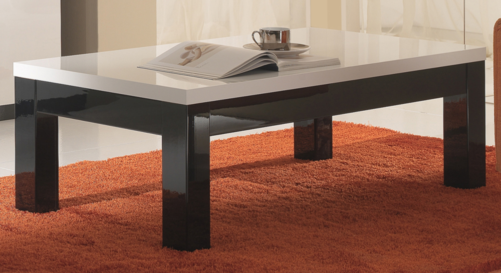 Table basse roma laqu bicolore noir blanc - Table basse noir et blanc laque ...