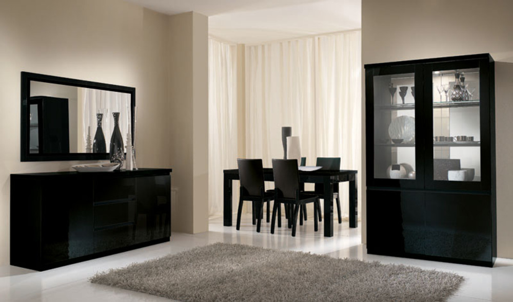 bahut 2 portes 3 tiroirs roma laqu noir. Black Bedroom Furniture Sets. Home Design Ideas