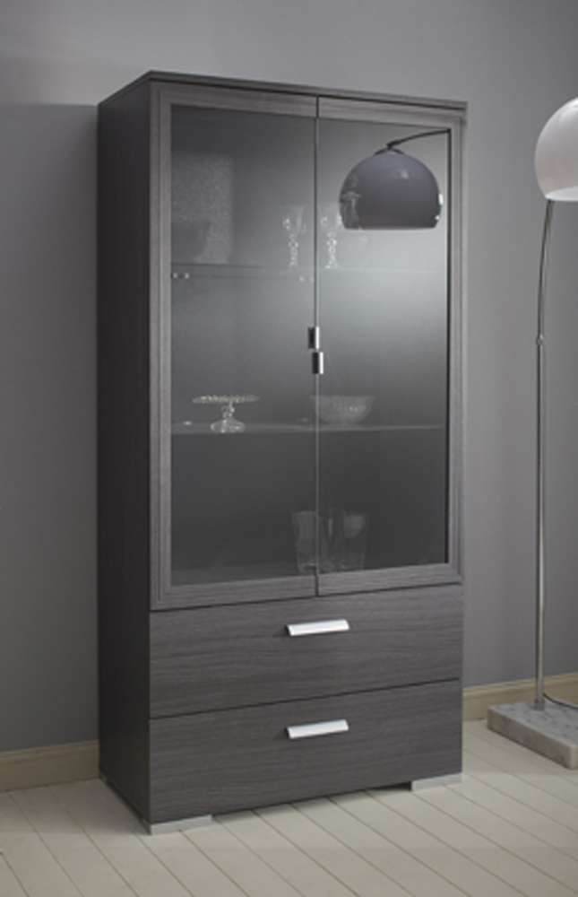 vitrine 2 portes 2 tiroirs knok chene cendre. Black Bedroom Furniture Sets. Home Design Ideas