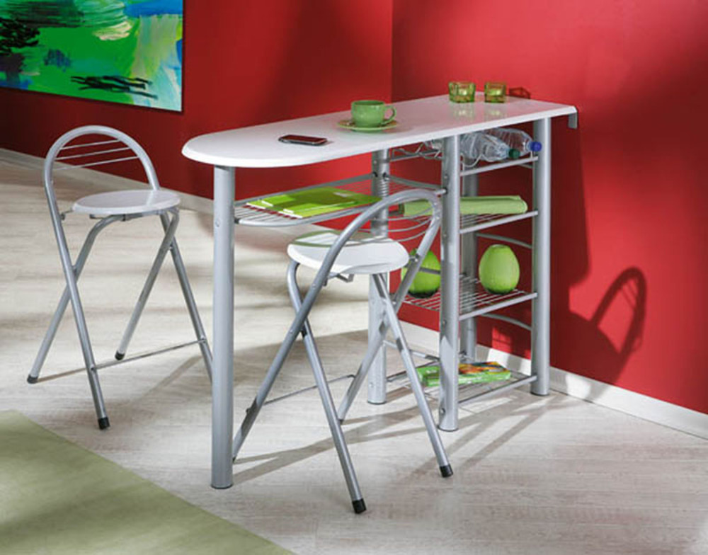 Ensemble table bar 2 tabourets frida blanc for Meuble cuisine avec table incorporee