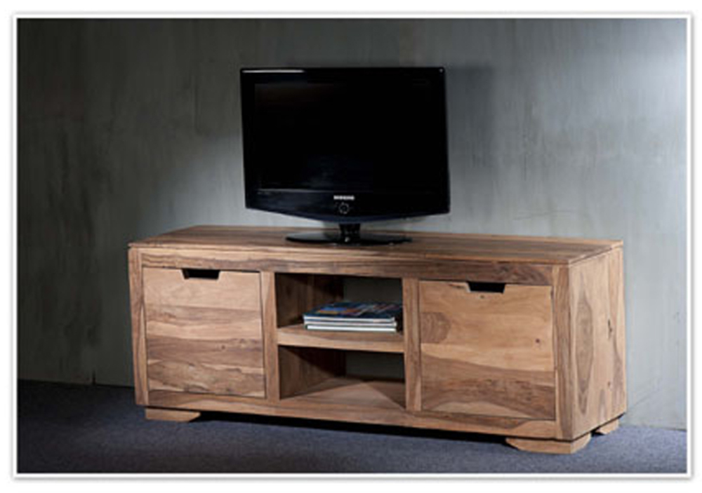 Meuble tv 2 portes 2 niches naturel saka palissandre naturel - Meuble tv alinea ...