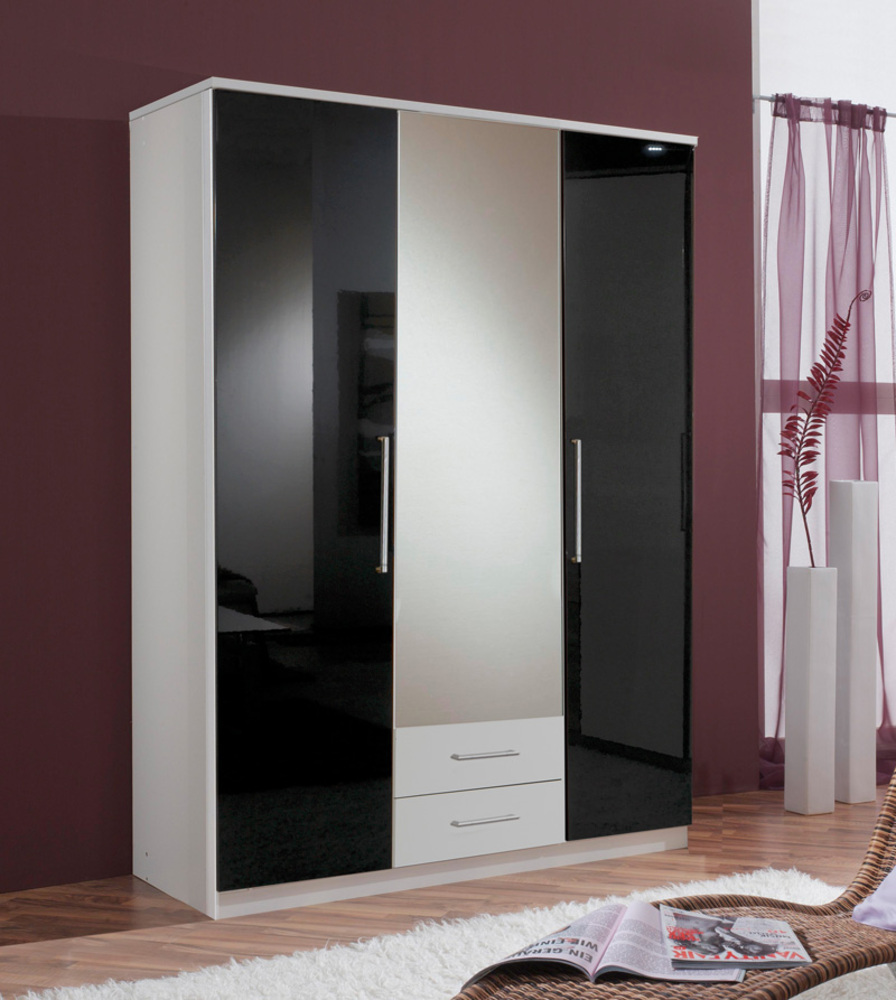 armoire 3 portes 2 tiroirs gamma blanc noir 139. Black Bedroom Furniture Sets. Home Design Ideas