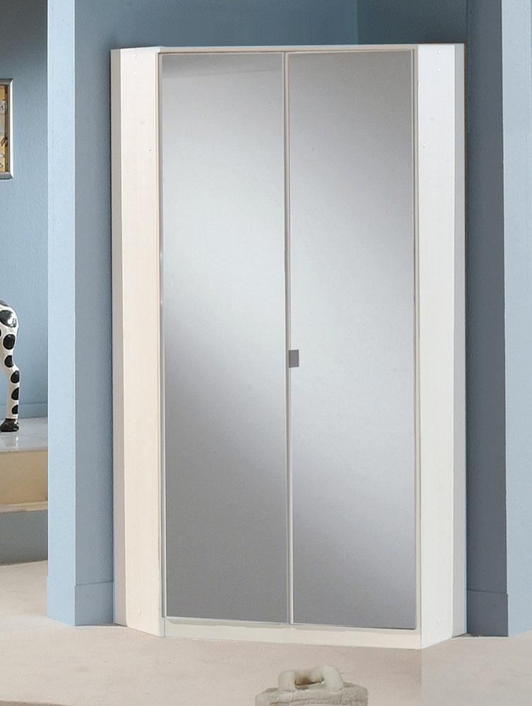 Armoire d angle avec miroir greven blanc 139 for Miroir pour armoire