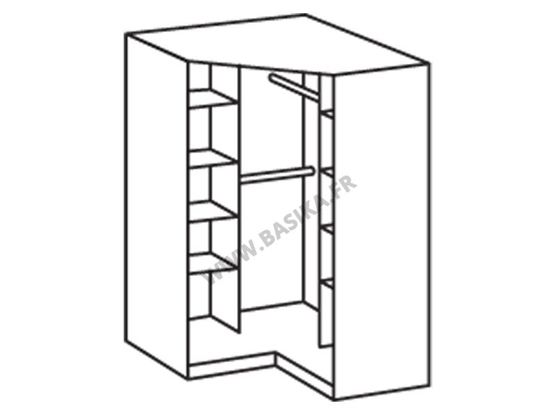 Armoire d angle avec miroir gamma blanc 139 - Caisson d angle pour dressing ...