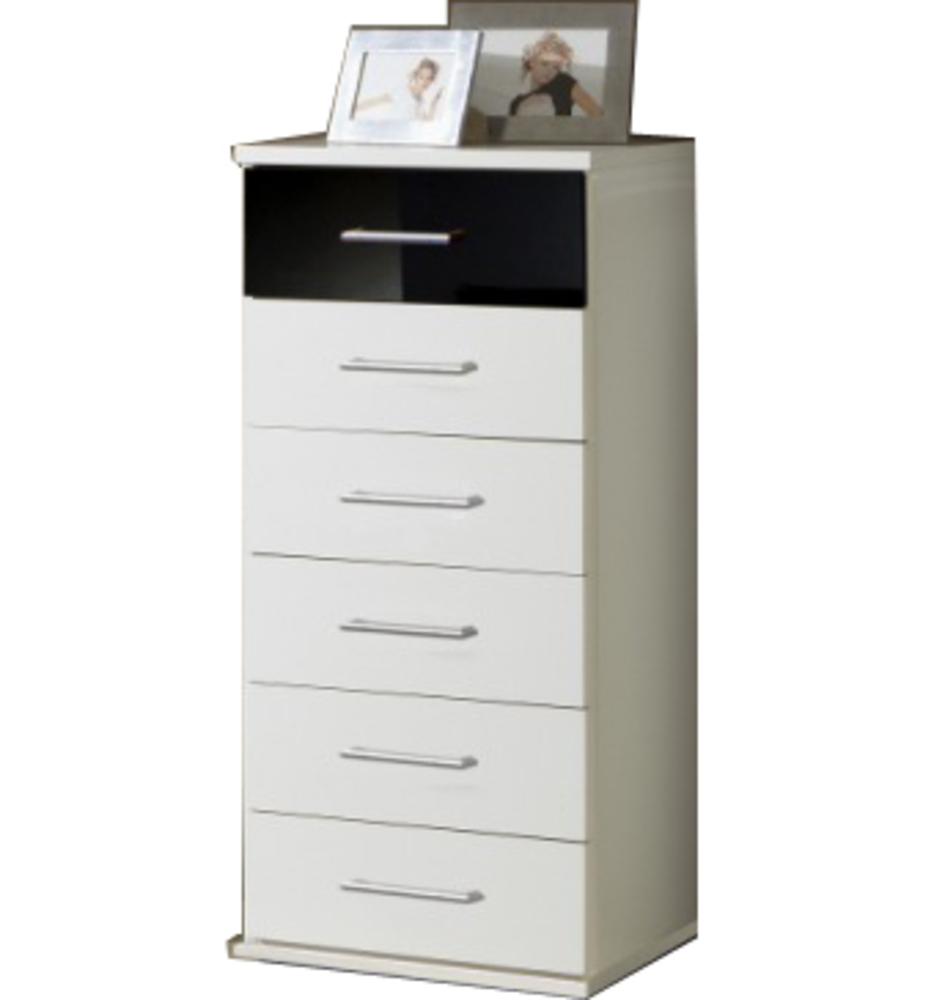 chiffonnier 6 tiroirs gamma blanc noir 139. Black Bedroom Furniture Sets. Home Design Ideas