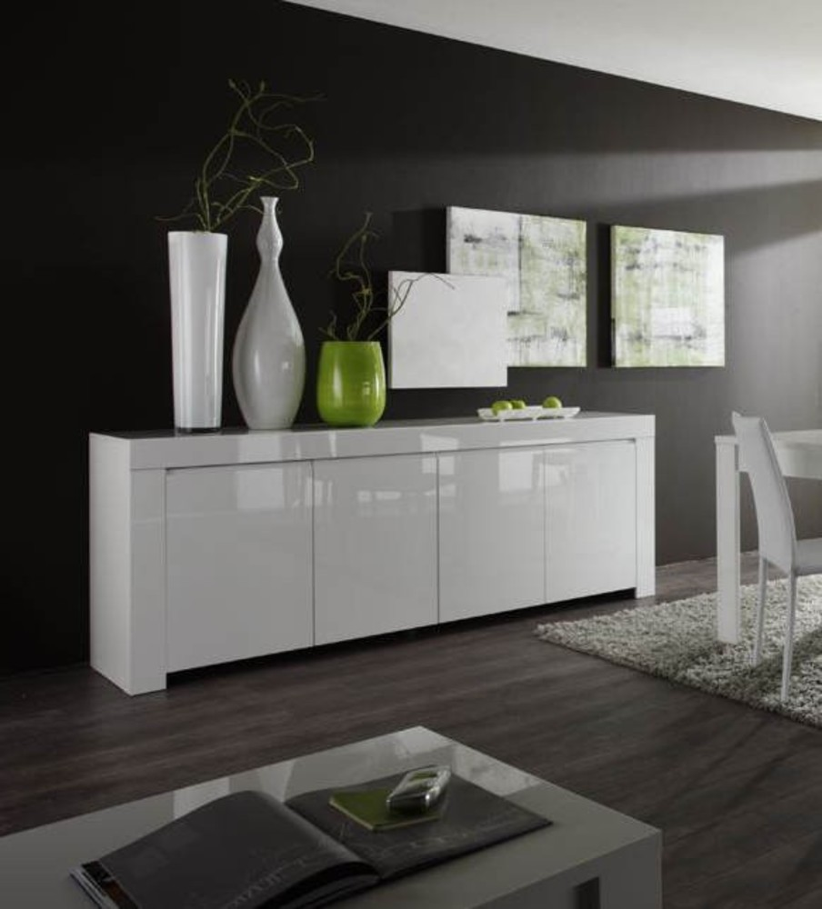 bahut 4 portes amalfi blanc. Black Bedroom Furniture Sets. Home Design Ideas