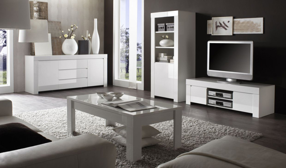 Meuble tv amalfi blanc - Idee deco salon cocooning ...