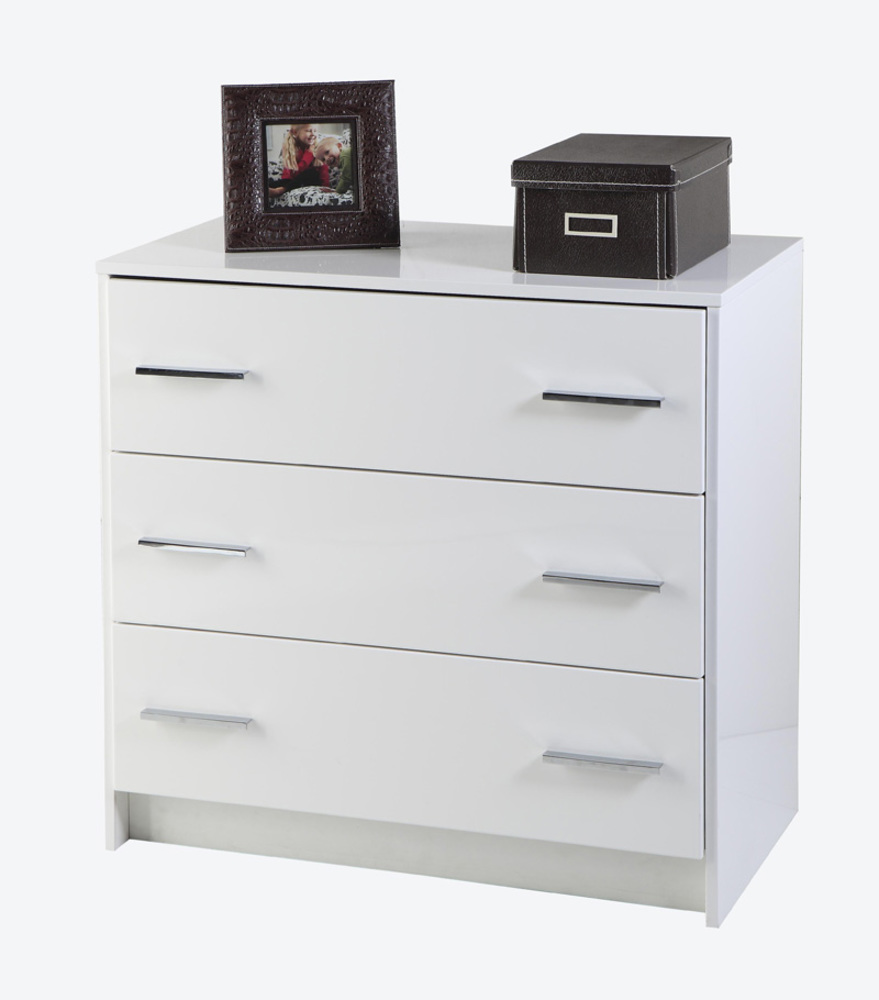 commode 3 tiroirs donatella blanc. Black Bedroom Furniture Sets. Home Design Ideas