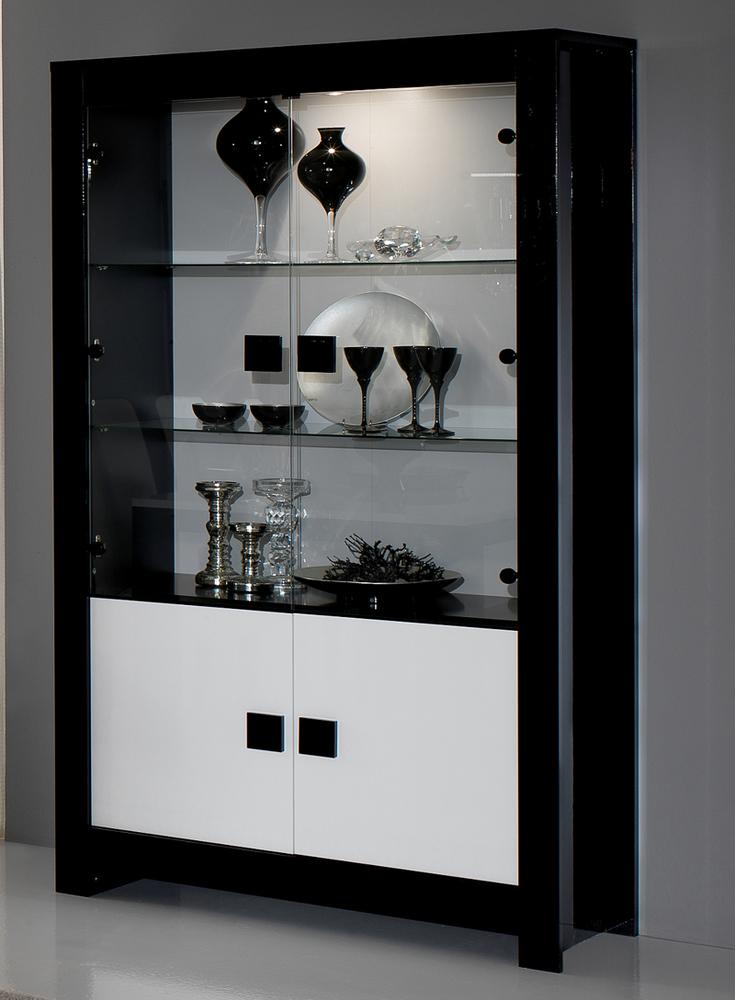 Vitrine pisa laqu e bicolore noir blanc noir blanc for Meuble niche murale