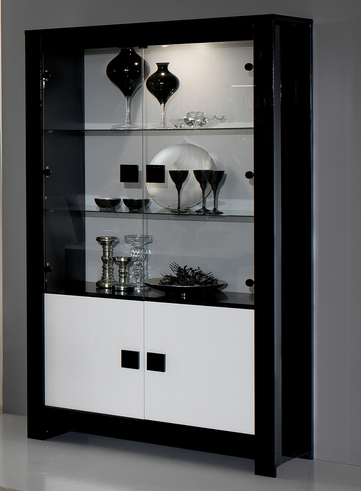 vitrine pisa laquee bicolore noir blanc noir blanc. Black Bedroom Furniture Sets. Home Design Ideas