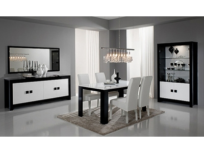 Vitrine Pisa laquée bicolore noir / blanc