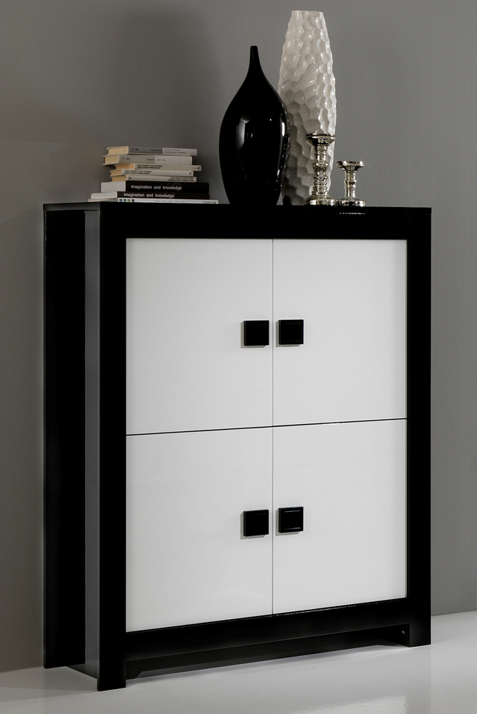 bar design pisa laquee bicolore noir blanc noir blanc. Black Bedroom Furniture Sets. Home Design Ideas