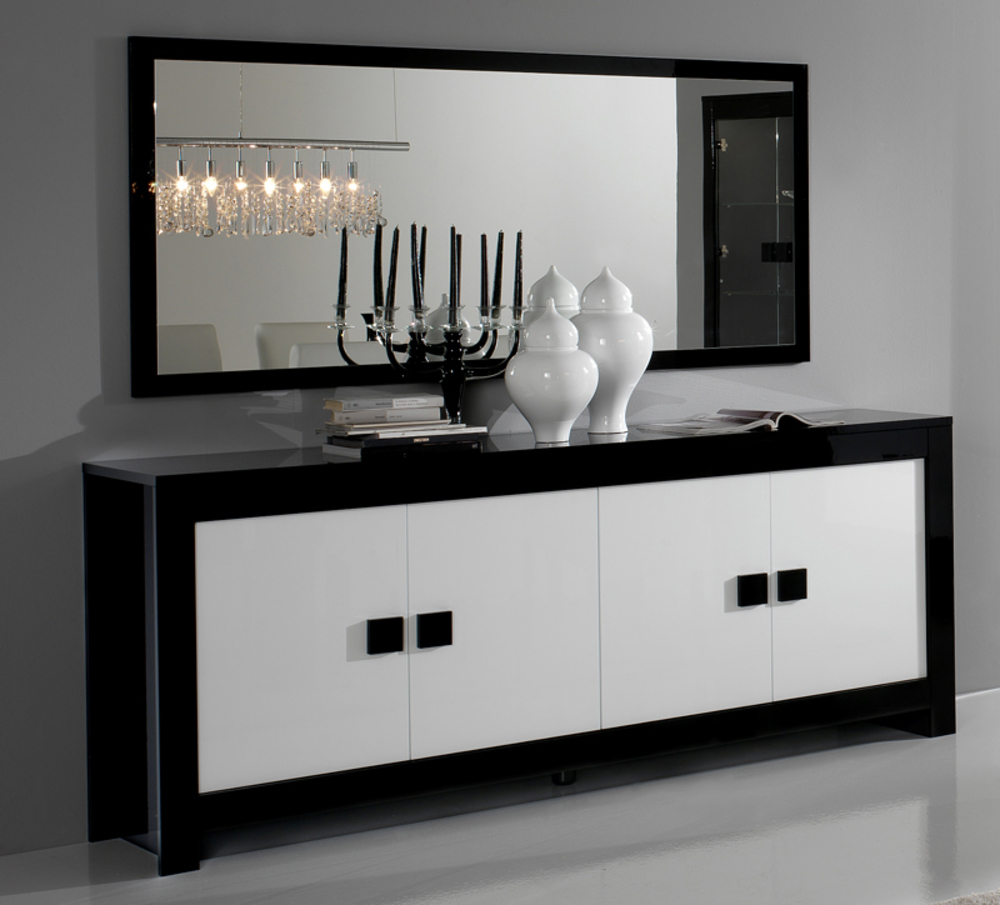 bahut 4 portes pisa laquee bicolore noir blanc noir blanc. Black Bedroom Furniture Sets. Home Design Ideas