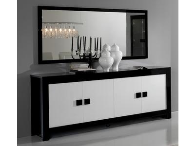 Bahut 4 portes Pisa laquée bicolore noir / blanc