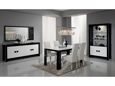 Table de repas Pisa laquée bicolore noir / blanc