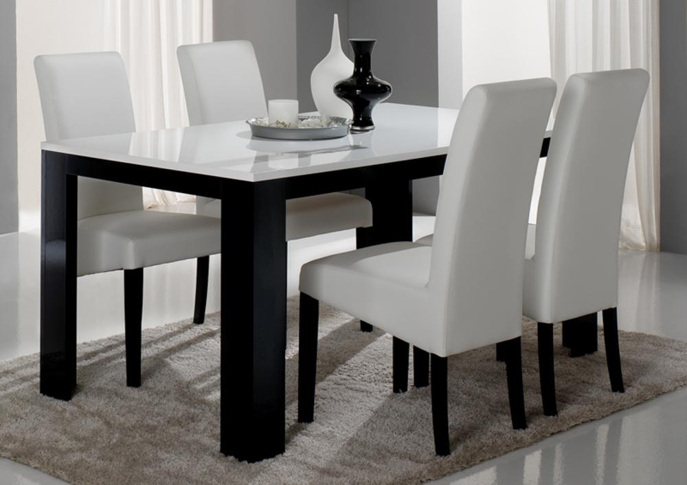 Table de repas pisa laquee bicolore noir blanc noir for Table de salle a manger noir et blanc