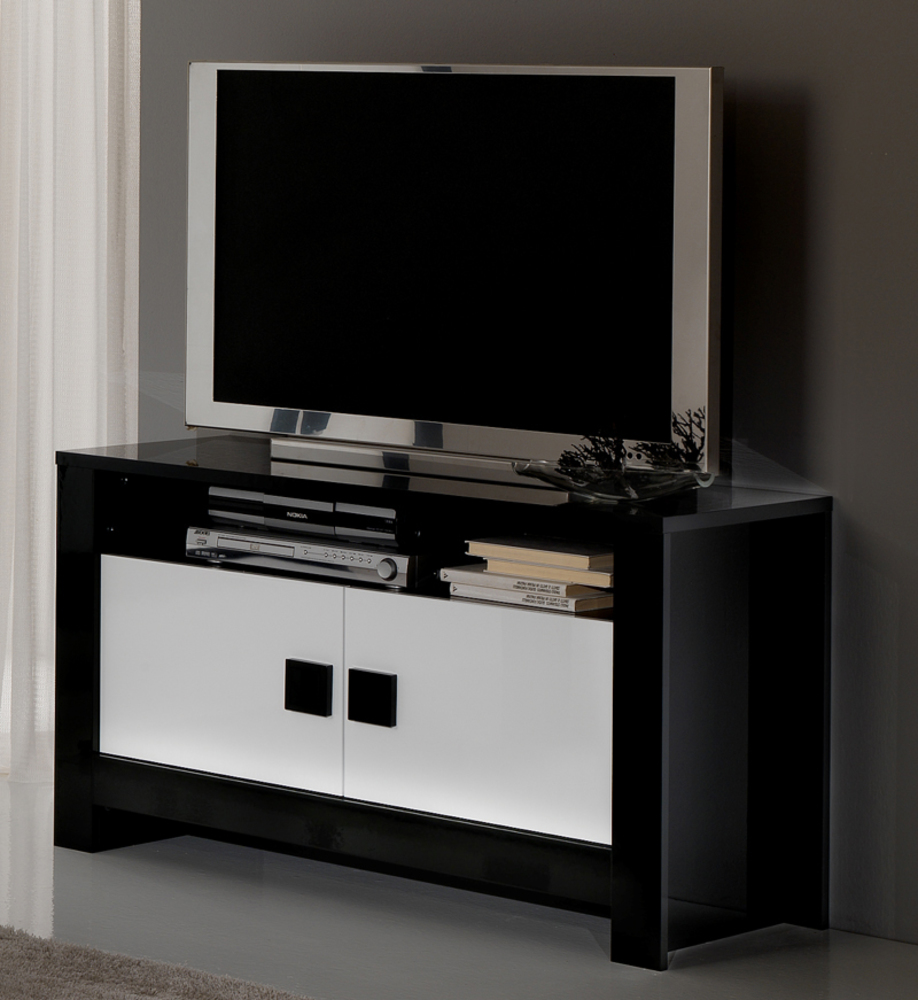 Meuble tv pisa laqu e bicolore noir blanc noir blanc for Meuble tele bas blanc