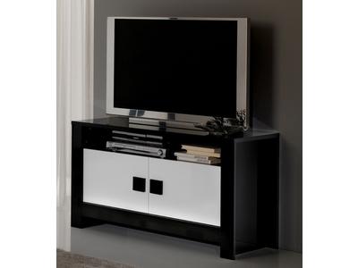Meuble tv Pisa laquee bicolore noir / blanc