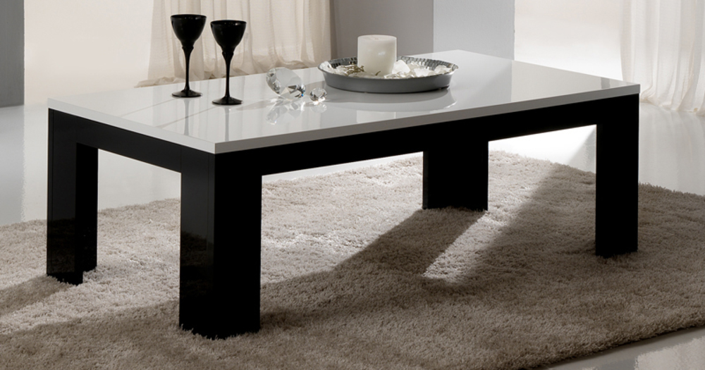 Table Basse Pisa Laquee Bicolore Noir Blanc Noir Blanc