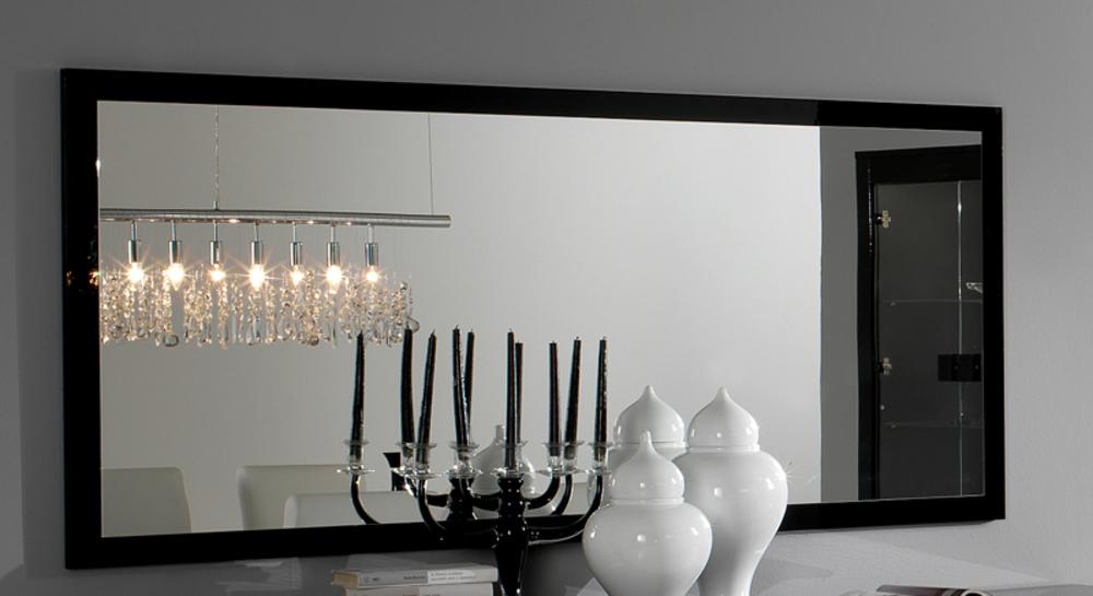 Miroir pisa laqu e bicolore noir blanc for Miroir tres grande taille