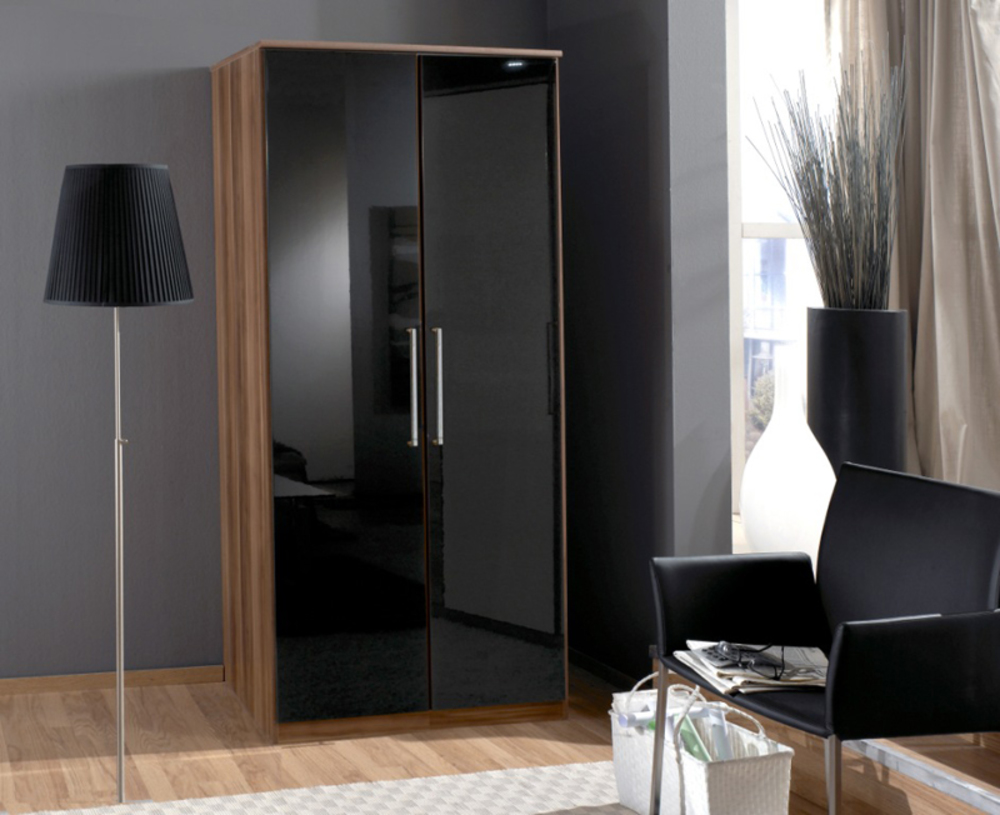 Montage Meuble Salle De Bain Kvik ~ Armoire 2 Portes Gamma Noyer Noir 035