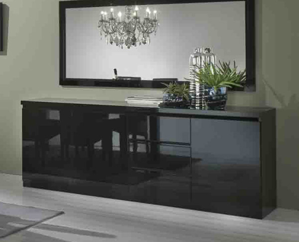 bahut 3 portes 3 tiroirs roma laque noir noir. Black Bedroom Furniture Sets. Home Design Ideas