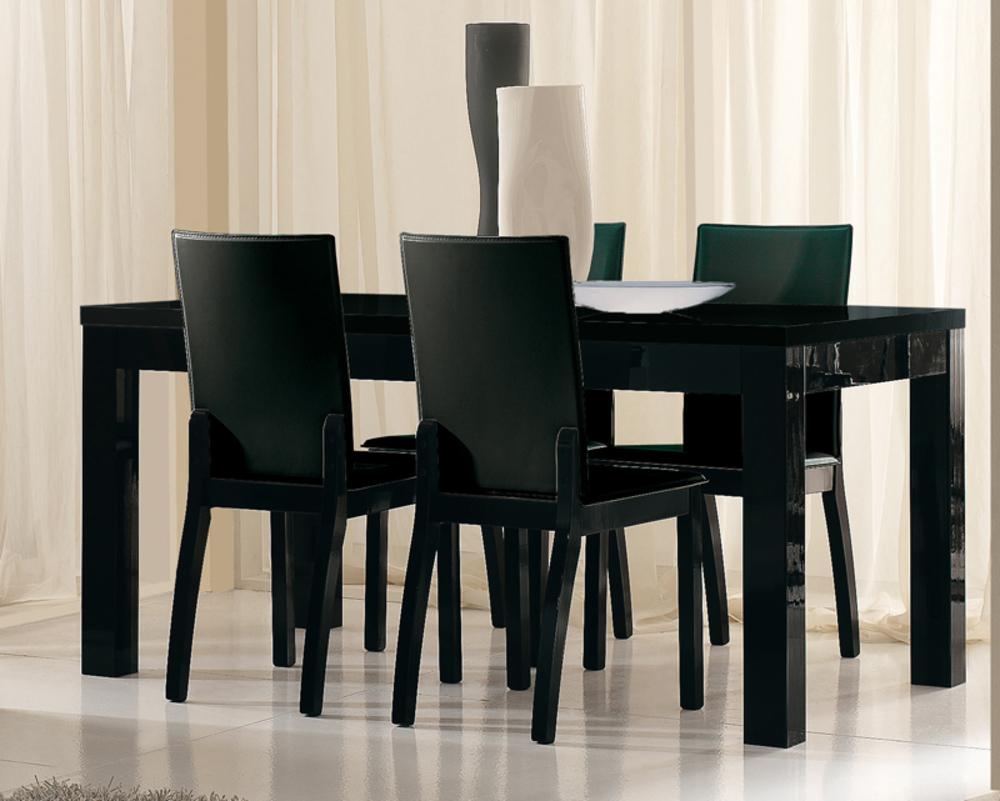 Table de repas roma laque noir noir l 160 x h 76 x p 90 for Table de salle a manger noire