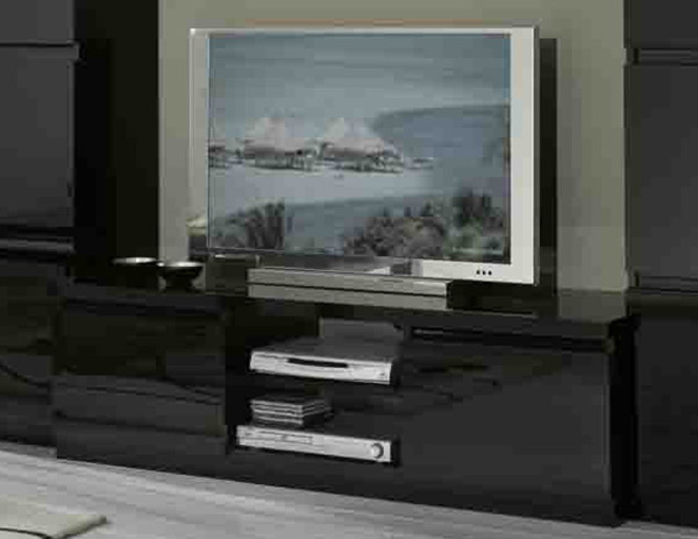 Meuble tv plasma roma laqu noir for Table television ecran plat