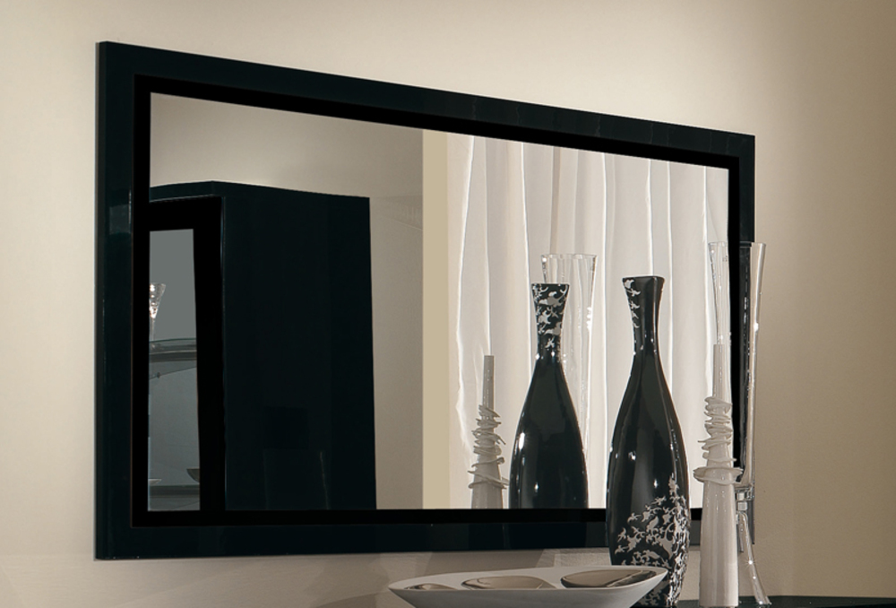 miroir roma laque noir noir l 140 x h 85 x p 2. Black Bedroom Furniture Sets. Home Design Ideas