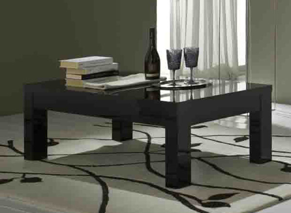 Table Basse Roma Laque Noir Noir