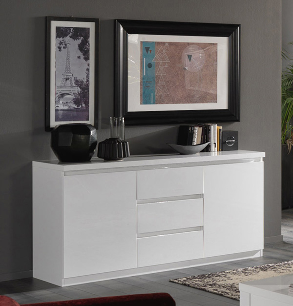 bahut 2 portes 3 tiroirs roma laque blanc. Black Bedroom Furniture Sets. Home Design Ideas