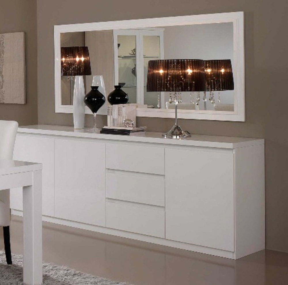 bahut 3 portes 3 tiroirs roma laque blanc blanc. Black Bedroom Furniture Sets. Home Design Ideas