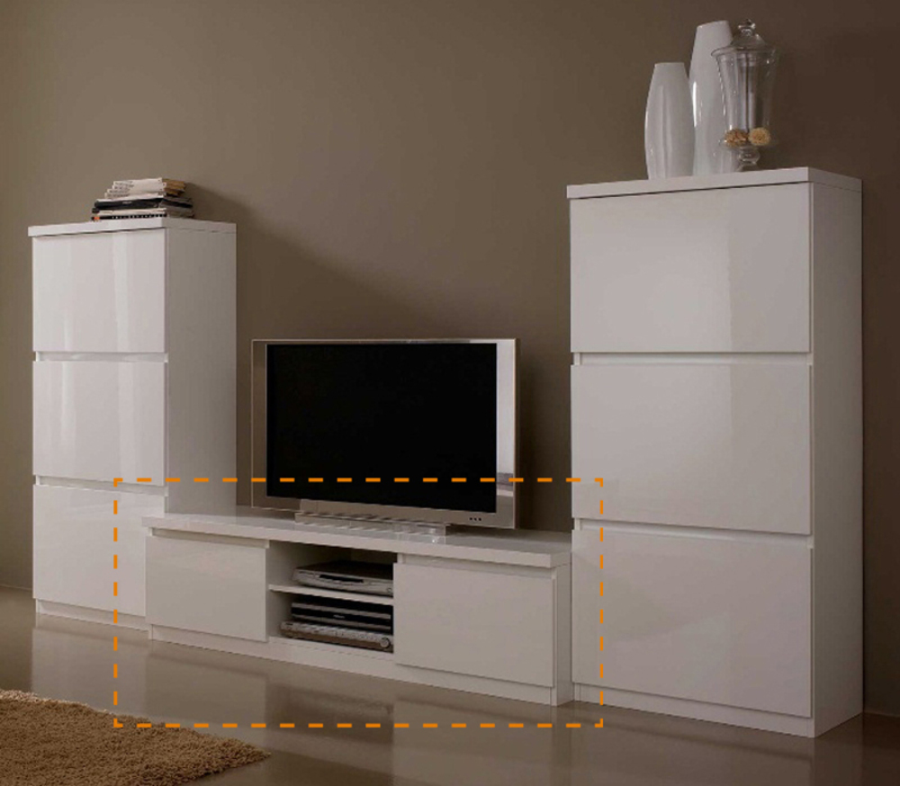 Meuble tv blanc laqu for Ensemble de chambre blanc