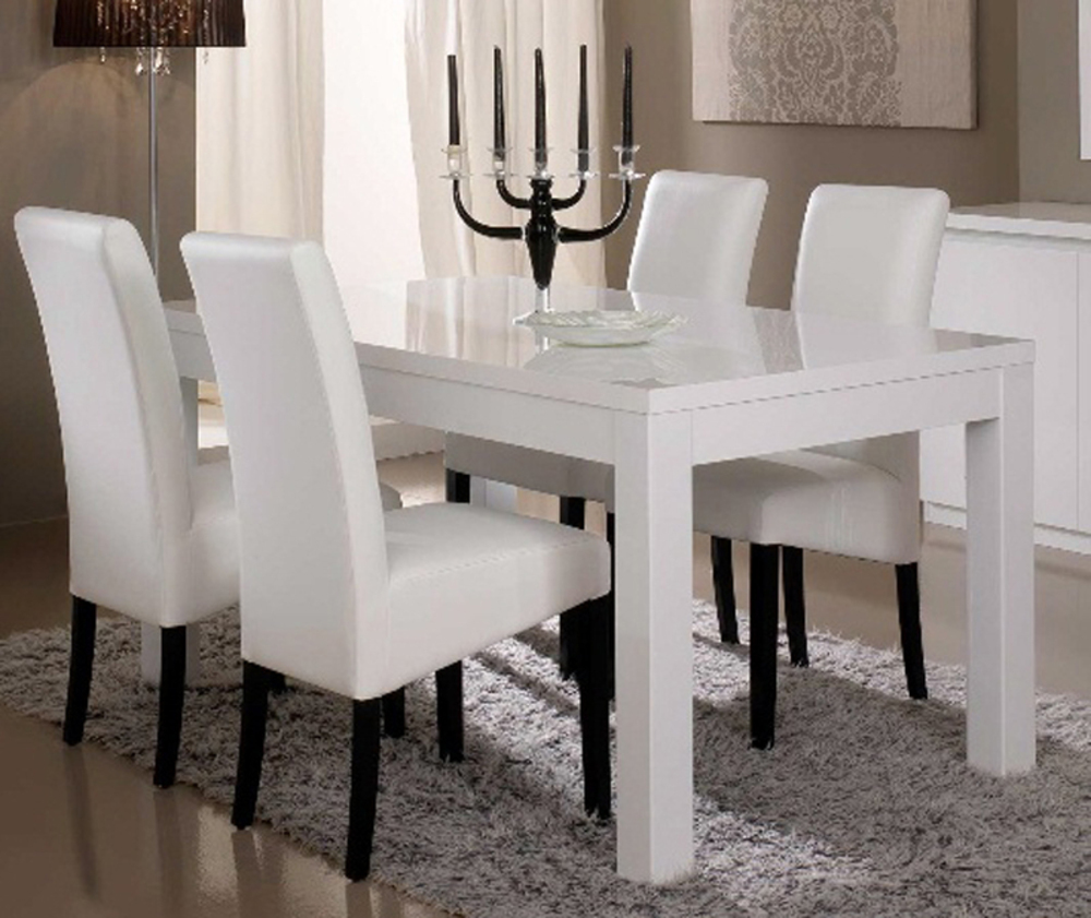 Table de repas roma laque blanc blanc l 160 x h 76 x p 90 for Table de sejour design