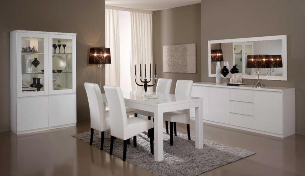 salle manger blanc laqu. Black Bedroom Furniture Sets. Home Design Ideas