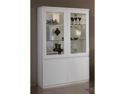 vitrine 2 portes roma laqu blanc. Black Bedroom Furniture Sets. Home Design Ideas