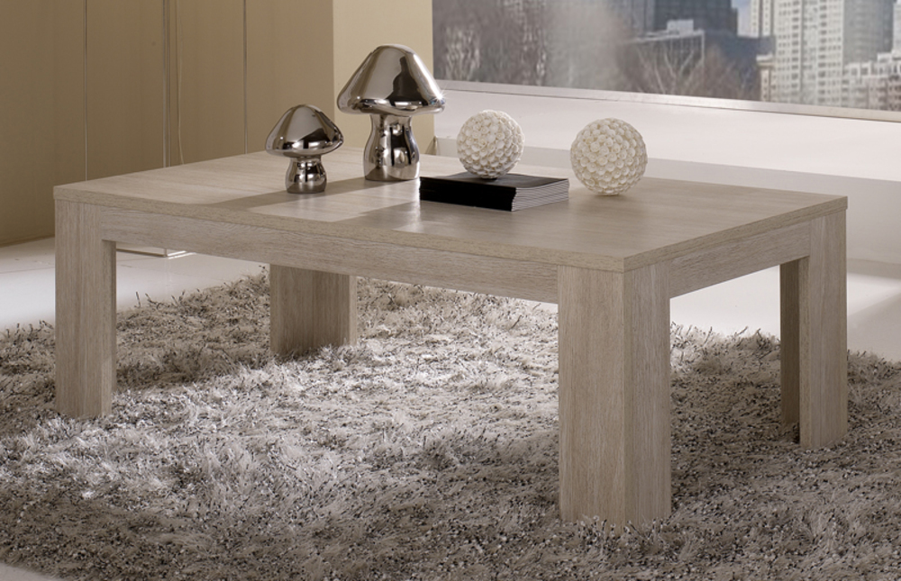 Table basse pisa chene blanchi soho for Table de salon en chene massif